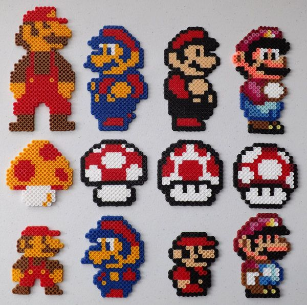 The Big and Small of Mario Perler Bead Art by kamikazekeeg