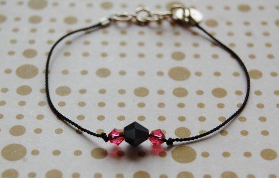 Black silk thread bracelet with swarovski crystals by AasJewelry