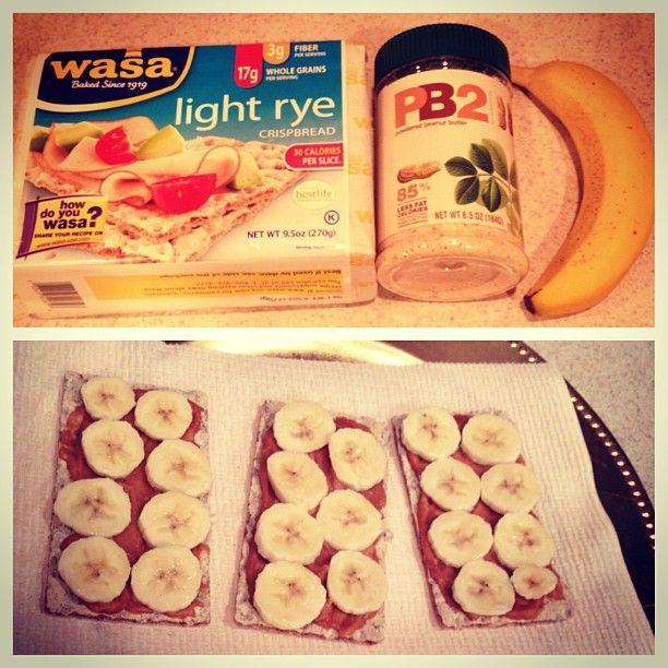 "@sambaby91's photo: ""Dinner!!! Light rye crisp bread with PB2 and banan"