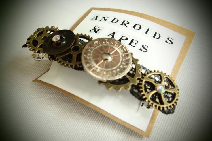STEAMPUNK HAIR BARRETTE with vintage buttons and metal gears in brass and black lace, handmade item, unique gift for Christmas by AndroidsandApes on Etsy