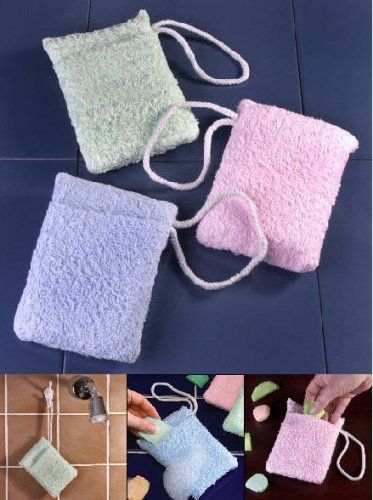 Terry Soap Holder Sponges Set of 3 by EasyComforts by EasyComforts. $11.95. Turn Slivers of Pure Soap into a Lathering Sponge !. A sensible money saver. The soft terry cloth pocket can hold several slivers and is large enough for a full bar. Make soap easy to hold and save money, too. Terrycloth bath sponges turn any bar of soap or soap slivers into an easy-grip soap on a rope. Machine washable for use over and over. Set of 3 in assorted colors.