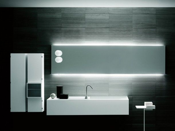 STAGE back illuminated mirror & frontal lamps designed by Piero Lissoni for BOFFI.    http://santiccioli.com/en/collections/?filter=product&name=stage