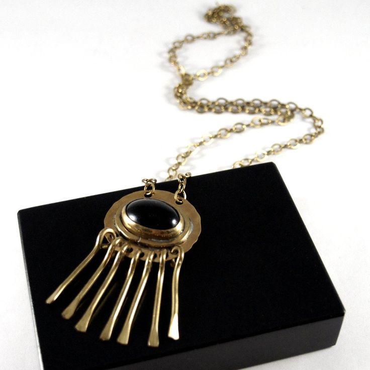 Rafael Canada Necklace Brass - Kinetic - Black Cabochon