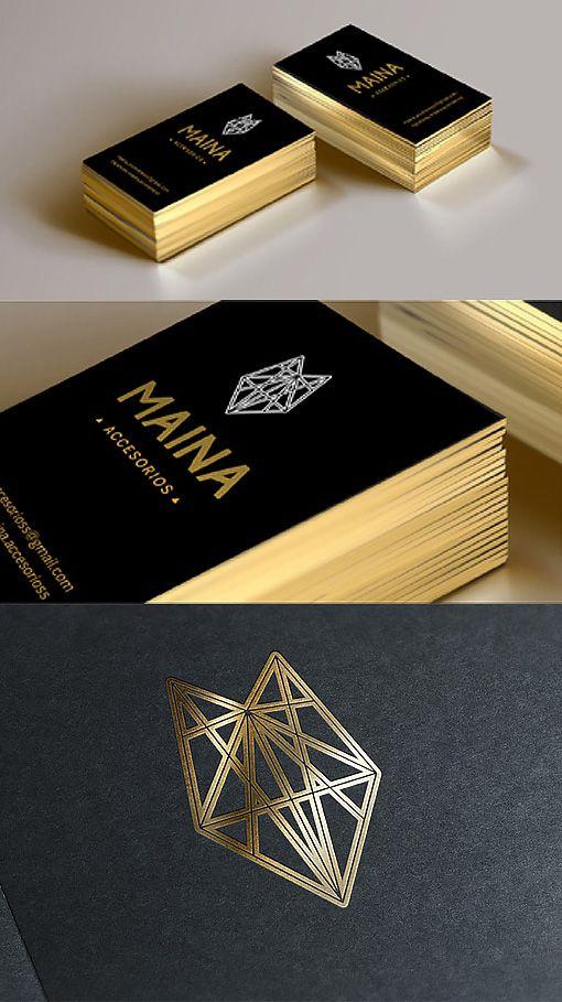 Sleek Black And Gold Foil Business Card Design