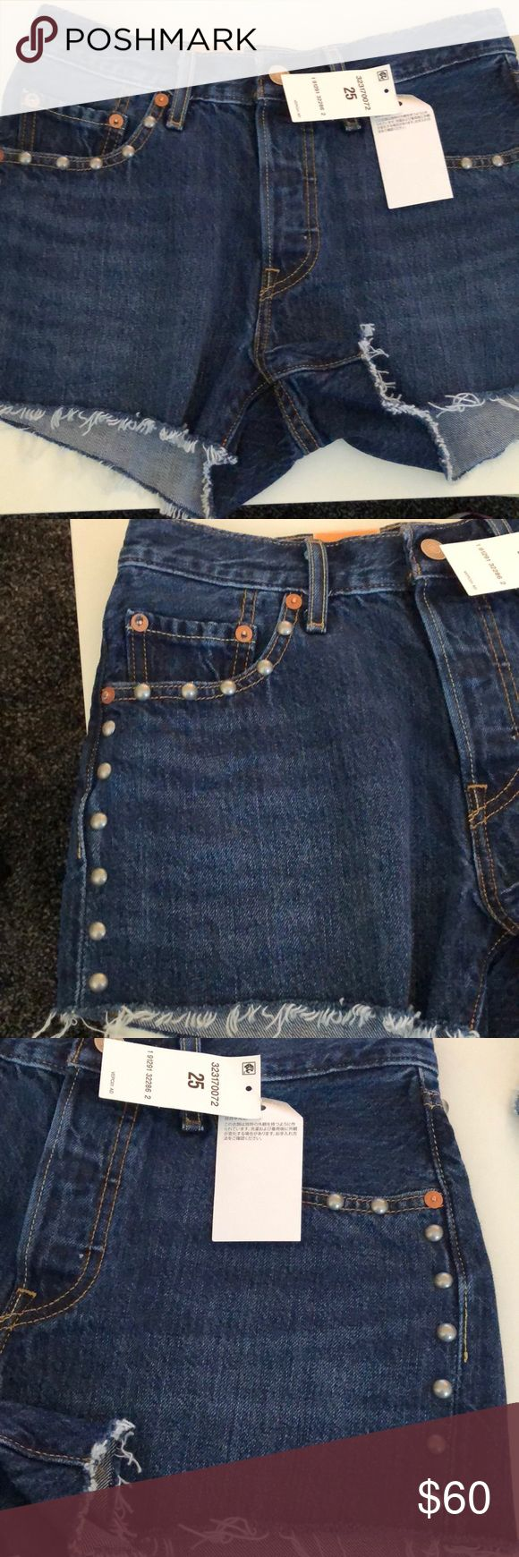 """=LEVI'S=STUDDED FRAYED FESTIVAL JEAN SHORTS 25 NWT NO IMPERFECTIONS SIZE 25 Grommet studs along side and pockets Adorable for summer  waist 13"""" rise 9"""" length 11""""  Festival fashion,short shorts, denim shorts, jean shorts,hippie,boho x Levi's Shorts Jean Shorts"""
