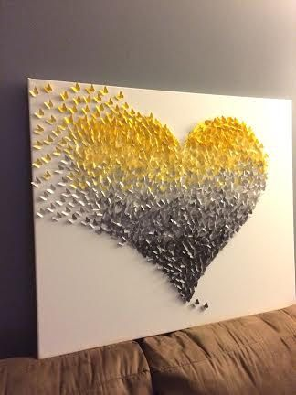 3D Butterfly Wall Art  Yellow and Grey Ombre Classic