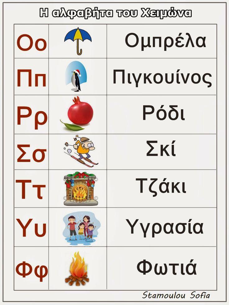 Sofia's Kindergarten: Η ΑΛΦΑΒΗΤΑ ΤΟΥ ΧΕΙΜΩΝΑ