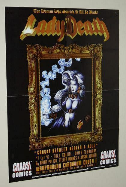 Sexy Lady Death Chaos Comics 24 x 18 hot goth girl/woman horror promo poster 1