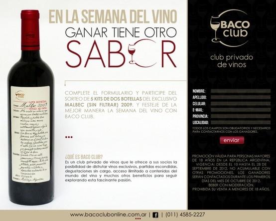 Promoción Semana del Vino, Baco Club.