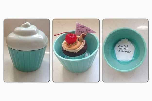 "Give her a cupcake inside a cupcake with a note written on a cupcake. | 24 Insanely Creative Ways To Ask ""Will You Be My Bridesmaid?"""