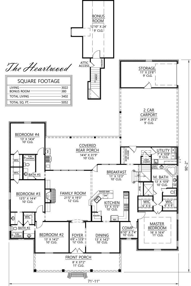 4 bedrooms, bonus, 3 baths, 3022 living + 380 bonus = 3402 total living; total square feet 5052; the Hearwood, Acadian style home design by Steve Madden