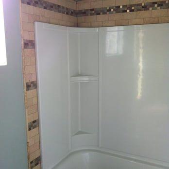 Tile trim around shower liner - Yelp
