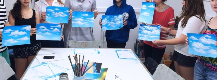 A 'Painting Clouds' workshop with artist Lyn Hammond in our studio   www.artandco.com.au