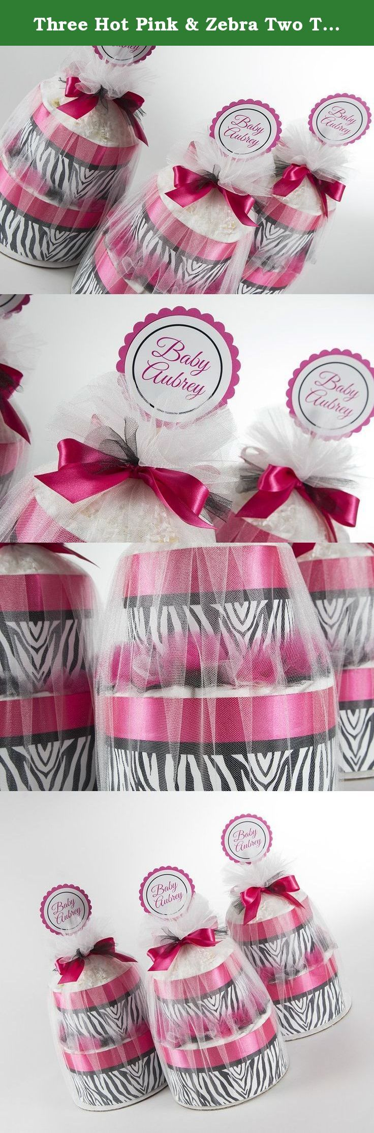 "Three Hot Pink & Zebra Two Tier Mini Diaper Cakes. Baby Shower Centerpieces or Gift. Mini diaper cakes not only make unique and memorable gifts but also adorable centerpieces or decorations for baby showers. Each two tier mini diaper cakes include: 35 Pampers Swaddlers diapers, size 1 (8-14lb) premium diapers. These Diaper Cakes are perfect Hot Pink & Zebra color scheme Baby Showers. These two tier mini diaper cakes sit on a 8"" cake board. They are wrapped in tulle and decorated with..."