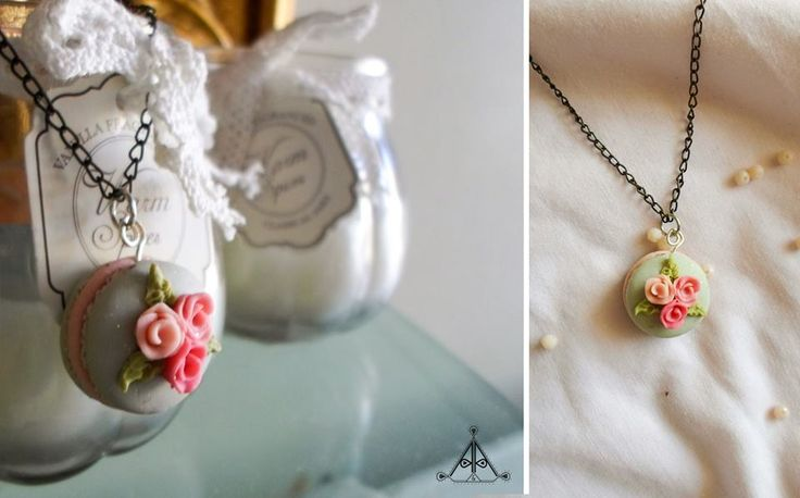 macaron necklace flower rose sweet | polymer clay miniature food cute jewelry  find it here: https://www.facebook.com/AA-Handmade-Jewelry-297747360352236/?fref=ts