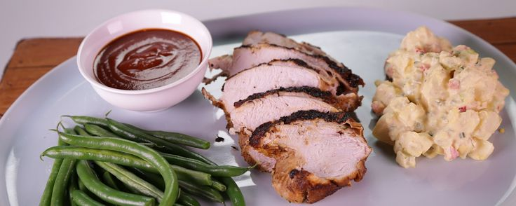 Grill up this delicious turkey just like Chef Roble!  BBQ Brined Spiced Turkey Breast With Potato Salad