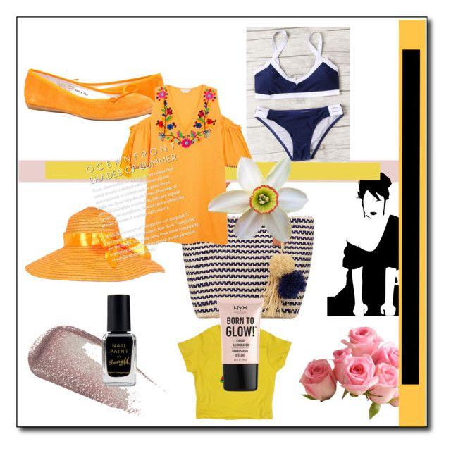"""Navy Bikini"" by cheapchicceleb on Polyvore featuring Buji Baja, Yves Saint Laurent, Barry M, NYX, Sensi Studio, Summer, beach, romwe and swimsuit"