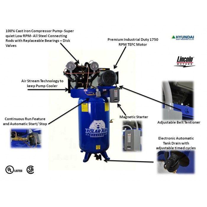 10hp 120gal Vertical Air Compressor   Polar Air by Eaton Compressor