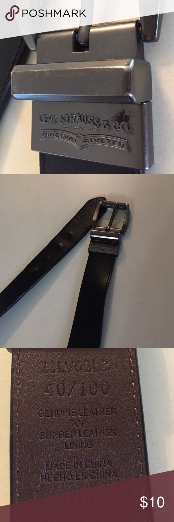 Men's Levi Strauss black leather belt size 40 In very nice condition levi strauss Other