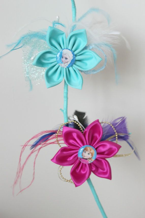 Elsa and Anna -Frozen Inspired Flower Hair Clips - Matching Set - Frozen Hair Flower with Feathers on Etsy, $17.50