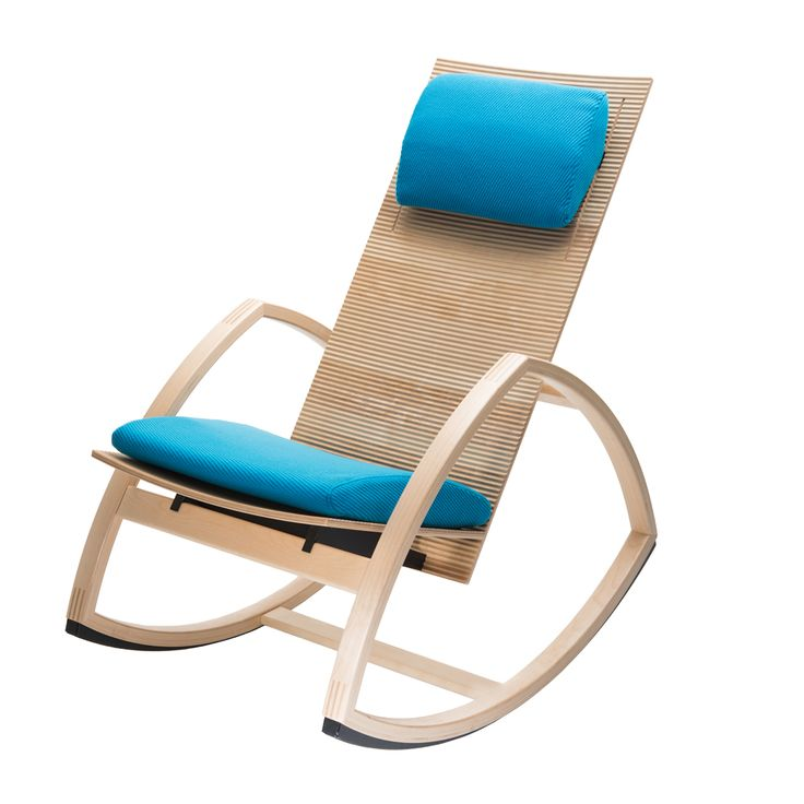 Rock For Peace rocking chair Three in Natural wood. The finest details of natural wood are nicely reflected in the corrugated, wave form of the seat and back of this nicely handcrafted rocking chair. Renewing the rocker to 21st century.