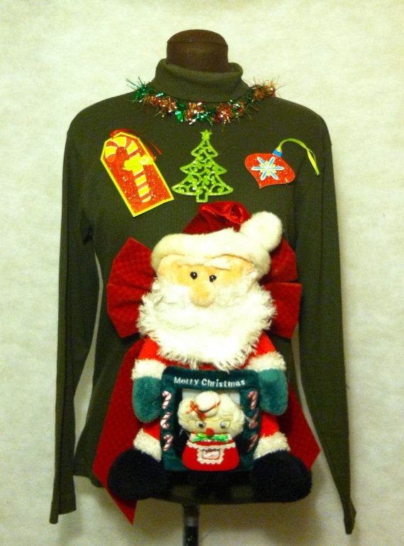 Cheap Ugly Christmas Sweater Santa Holds a Picture of Mrs Clause and in the Picture of her She is Holding a Picture of Mr Clause. Awww, the giving just never ends! by stealofadeal, $25.00