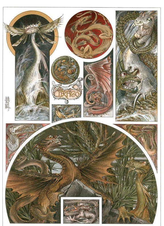 Art Nouveau Dragons by Anton Seder from Das Thier in der Decorativen Kunst, Vienna: 1896-1909