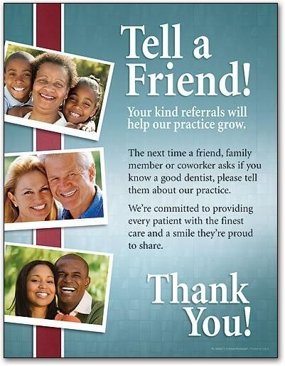Tell a friend! Your kind referrals will help our practice grow. The next time a friend, family member or coworker asks if you know a good dentist, please tell them about our practice. We're committed to providing every patient with the finest care and a smile they're proud to share. Thank You! #Dentist #Dentaltown