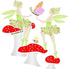Stencils for Walls' Toadstool Fairies Stencil would make great wall art for a girls bedroom. Stenciling is a versatile and exciting way to accessorize on any flat surface of your choice. Our stencils produce high quality designs with minimum fuss.