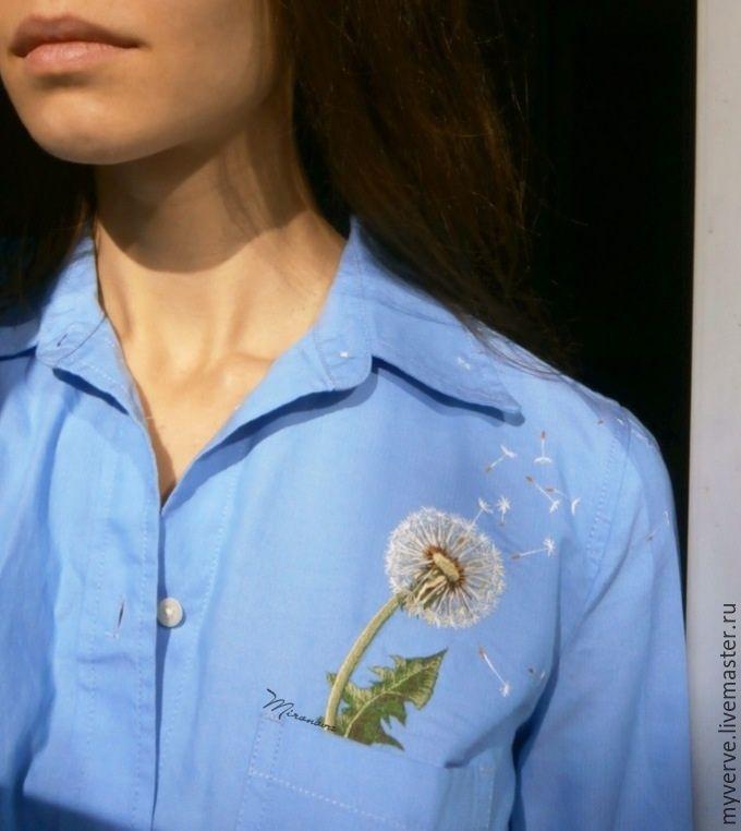 Купить Вышивка гладью - Вышивка гладью, одуванчик, художественная гладь, цветок, ручная работа, рубашка