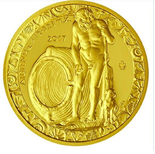 €200 Χρυσό 24Κ Νόμισμα, Ελληνικός Πολιτισμός, Proof, Ελλάδα, 2017 Ο Διογένης ο αποκαλούμενος «Κυνικός», ή Διογένης ο Σινωπεύς ήταν αρχαίος Έλληνας φιλόσοφος. Φέρεται να γεννήθηκε στη Σινώπη περίπου το 412 π.Χ., και πέθανε το 323 π.Χ. στην Κόρινθο. Θεωρείται ο κυριότερος εκπρόσωπος της Κυνικής Φιλοσοφίας. Χρησιμοποιούσε τον αστεϊσμό και το λογοπαίγνιο ως μέσο για τα διδάγματά του. Πίστευε πως η ευτυχία του ανθρώπου βρίσκεται στη φυσική ζωή και πως μόνο με την αυτάρκεια, τη λιτότητα, την…