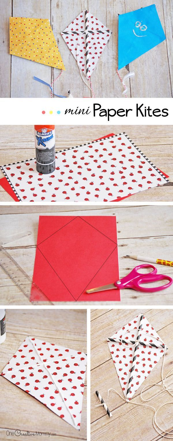 Get your kids outdoors and bust boredom this summer with easy mini paper kites! {OneCreativeMommy.com} Such a fun kids craft!