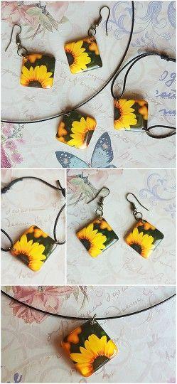 Sunflower Set #sunflower #jewelry set #rayolabijoux on #etsy #yellow #earrings #bracelet #necklace