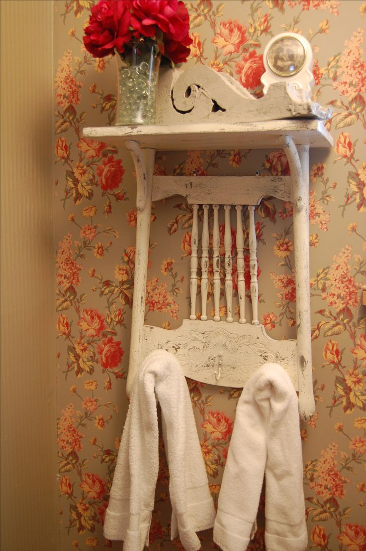 Shabby Chic shelf from vintage press-back chair at Vintique Venue on FB