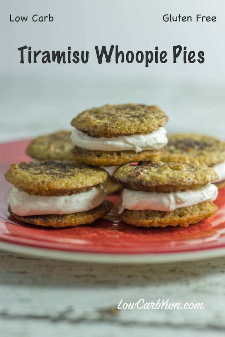 A low carb gluten free tiramisu whoopie pies recipe to give you a little pickup during the day. The keto cookies have a creamy filling spiked with espresso and rum. #glutenfree #tiramisu #whoopiepies #keto #lowcarb | LowCarbYum.com via @lowcarbyum
