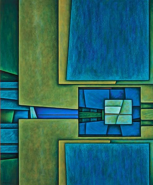 Paisaje Espejismo, 2000 by Gunther Gerzso. Hard Edge Painting. abstract