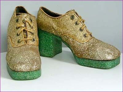 Mens Platform Shoes::Early 70s, Covered w/ Glitter, Best Out There : vintage mens clothes vintage platform shoes glitter david bowie disco