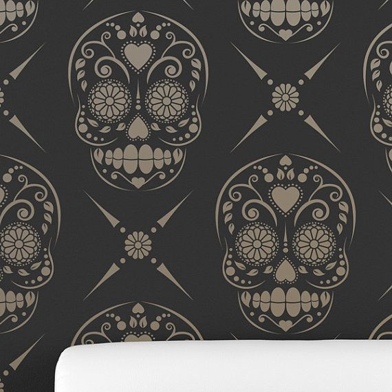 CANDY SKULL / Sugar Skull All over Wall Stencil • Reusable Stencils • DIY •Home Decor •Interiors • Feature Wall • Wallpaper alternative