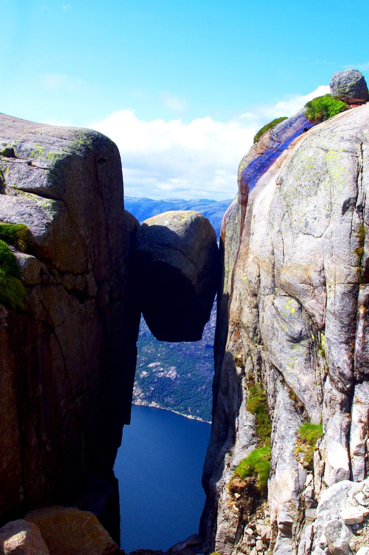 Kjerag or Kiragg is a Norway mountain, located in Lysefjorden, in Forsand municipality, Ryfylke, Rogaland. Its highest point is 1110 m above sea level, but its northern drop to Lysefjorden attracts most visitors