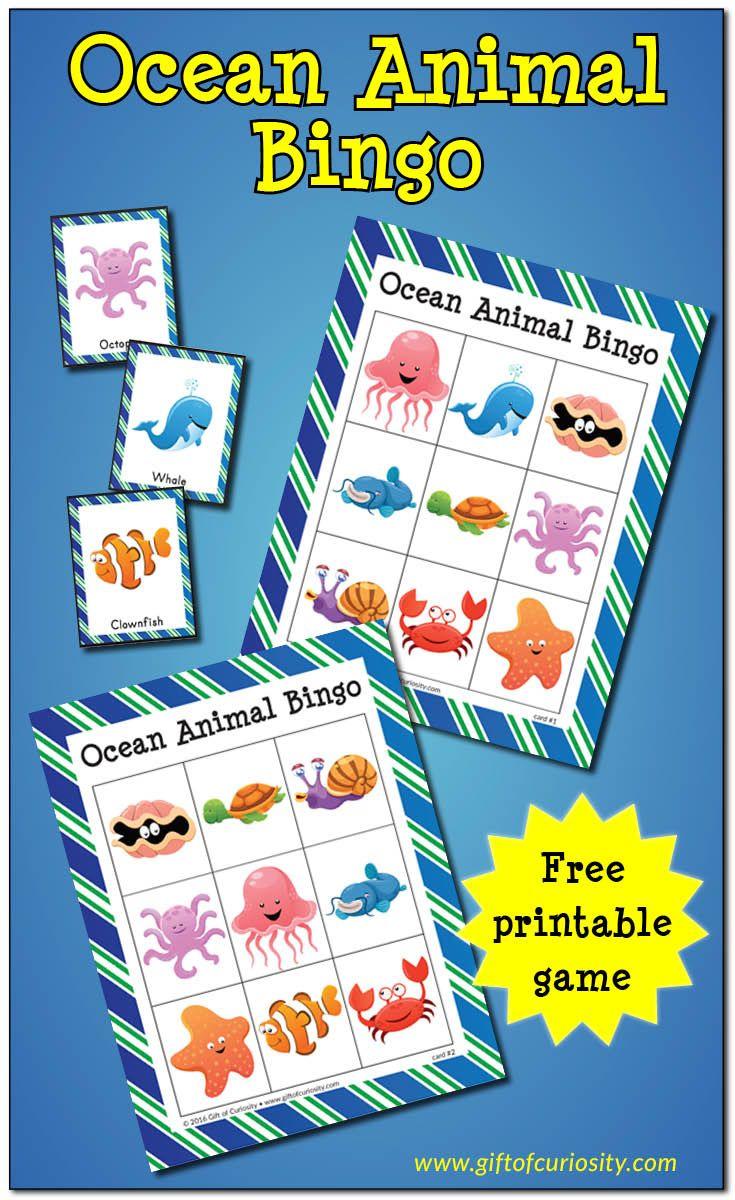 FREE printable Ocean Animal Bingo game || Gift of Curiosity Printable in Documents & Downloads as Ocean-Animal-Bingo