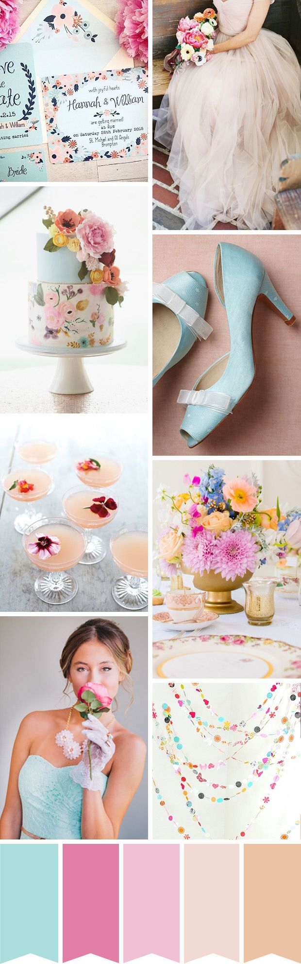Floral Whimsy - A Pretty Pastel Wedding Palette | www.onefabday.com