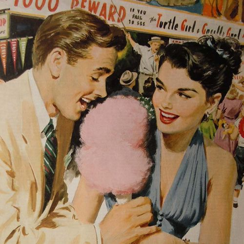 1950s romance (light and fluffy, just like cotton candy!) #retro #art #illustration