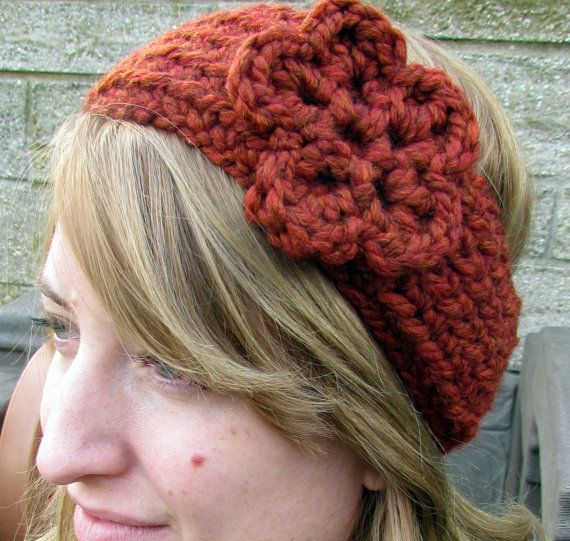 Burnt Orange Ear Warmer by HookedByAmy on Etsy, $12.50