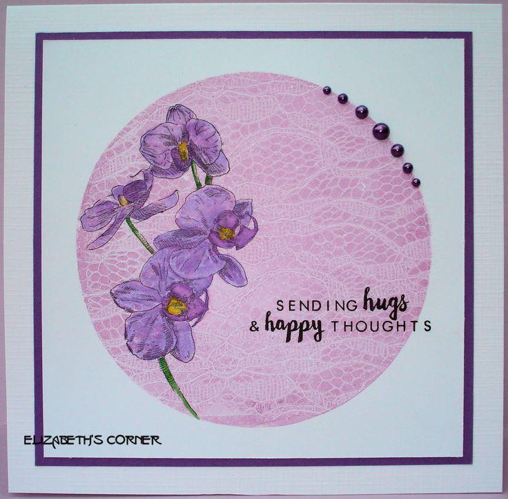 Achtergrond met Gelli-plate en Distress inkt. Stempel orchidee Studio Light.