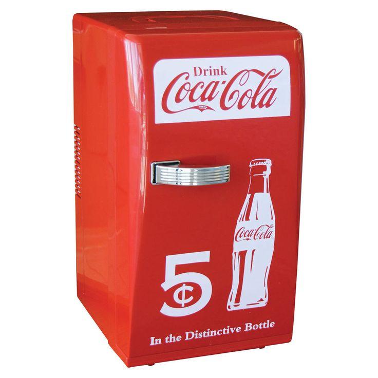 Retro Mini Fridge Portable Dorm Freezer Coca Cola Cooler Compact Refrigerator  #Unbranded