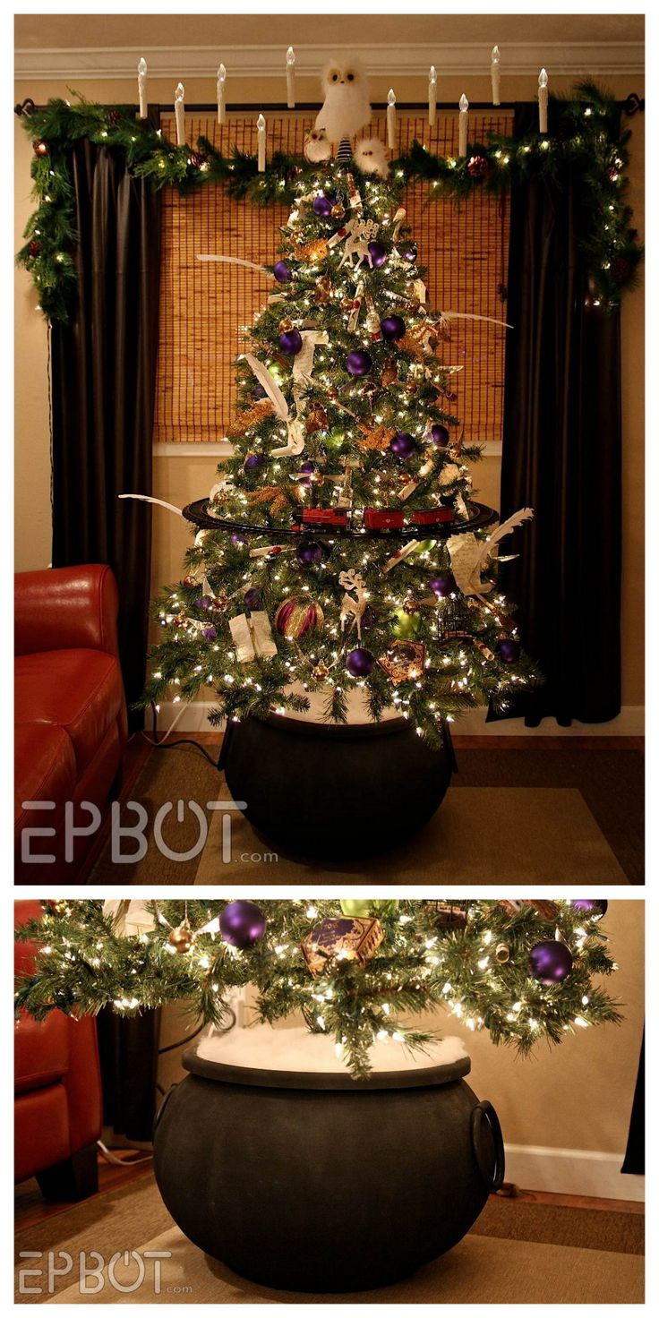 DIY Harry Potter Cauldron Christmas Tree Stand Tutorial from EPBOT. Transform a…