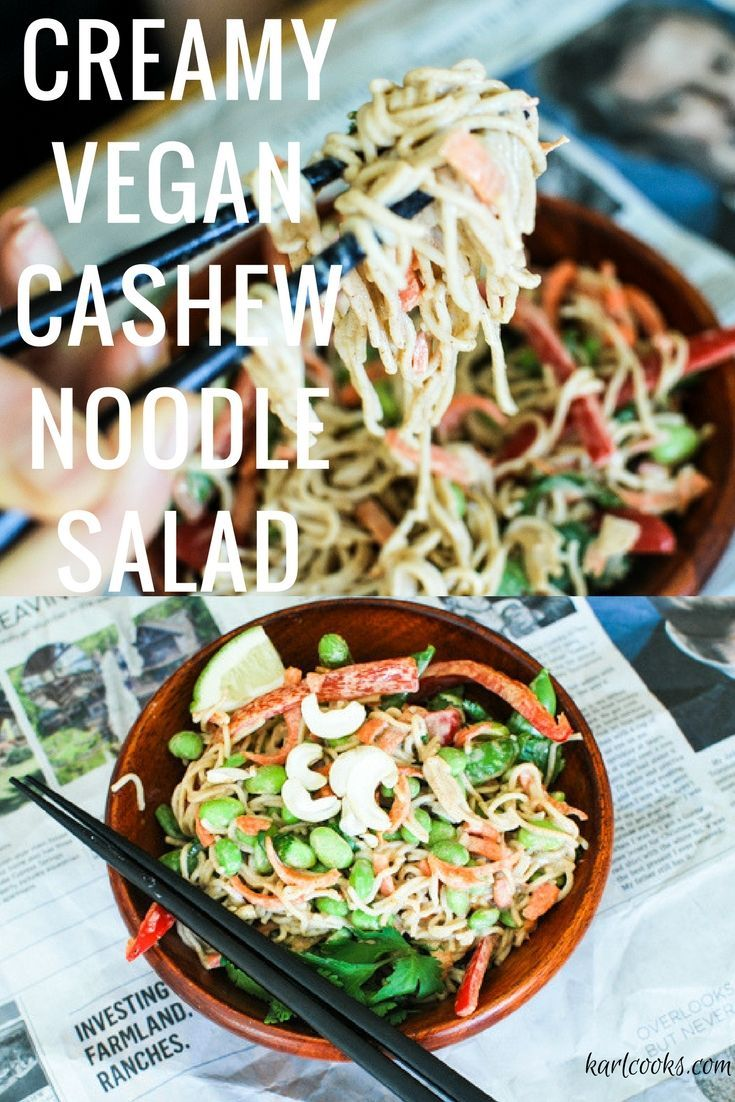 The creamiest, healthy, 20 minute vegan & gluten-free cashew soba noodle salad. Simple, easy, and delicious!