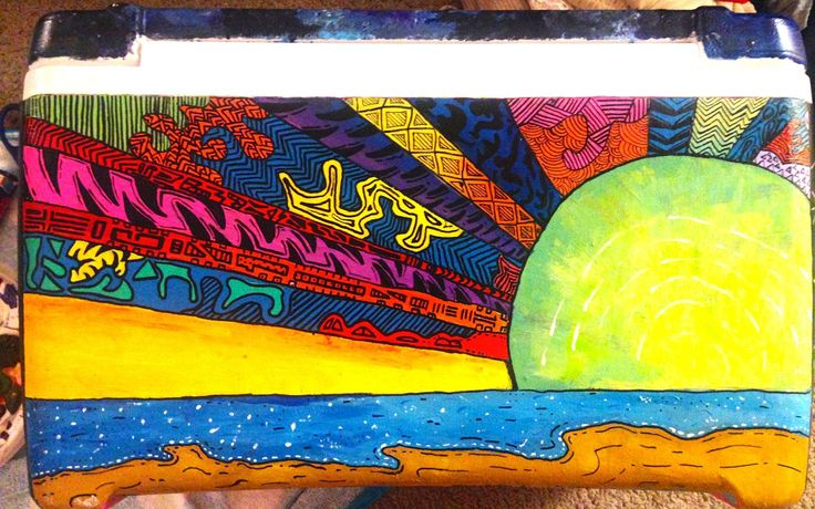 Tribal Beach Sunrise Sunset Hippie Cooler Patterned Rays