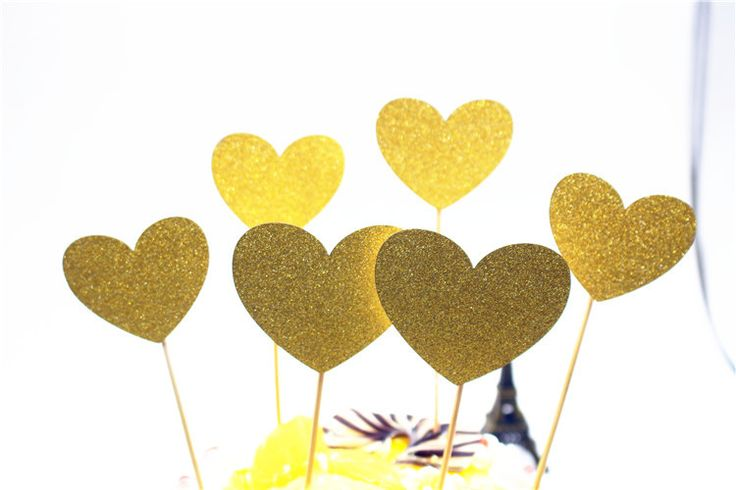 Set of 6pcs Cake Decorations Silver Glitter Heart Cake Toppers Set Baby Shower Birthday Cupcake Party Decor