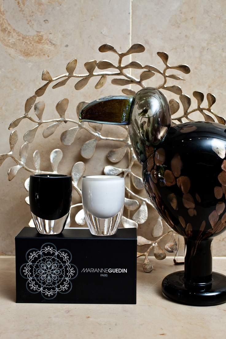 Marianne Guedin black and white candle set, Jade bowl – Roost, Lady Bird by Oiva Toikka